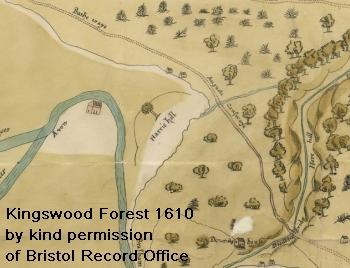 Extract from 1610 map of Kingswood Forest by kind permission of Bristol Record Office